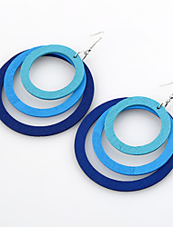 Women's Dangle Earrings Jewelry Euramerican Simple Style Double-layer Wood Round Jewelry For Gift Casual Outdoor clothing