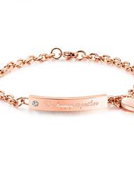Per donna Bracciali a catena e maglie Di tendenza Vintage Acciaio al titanio Placcato oro rosa Circolare A forma di cuore Gioielli Per