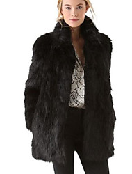 cheap -Women's Simple Casual Faux Fur Fur Coat-Leopard Stand