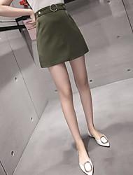 preiswerte -Damen Freizeit Alltag Mini Röcke A-Linie, Baumwolle / Nylon mit einem Hauch von Stretch Solide Frühling