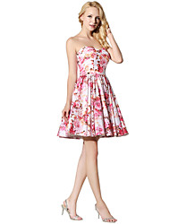 cheap -Princess Fit & Flare Sweetheart Short / Mini Satin Chiffon Cocktail Party Prom Dress with Pattern / Print by Sarahbridal