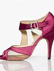 Недорогие -Для женщин Латина Искусственная кожа Сандалии Концертная обувь Сторонняя полые из На шпильке Лиловый 8,5 см Персонализируемая