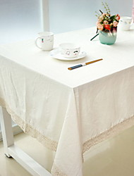 Natural Plain Pattern Table Cloth White Cotton Blend Material 1Pc