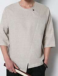 Men's Daily Casual Simple Summer T-shirt,Solid Round Neck Half Sleeves Linen Thin