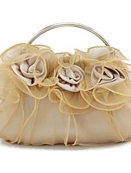 Women Bags All Seasons Suede Polyester Satin Clutch Appliques Satin Flower Satin Bow Floral Pleated Petals Mini Spot Metallic Ruched