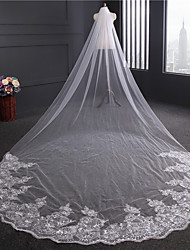 cheap -One-tier Lace Applique Edge Wedding Veil Chapel Veils With Applique Sequin Ribbon Embroidery Tulle