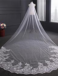 Uma Camada Borda com aplicação de Renda Véus de Noiva Véu Capela Com Apliques Lantejoulas Fita Bordado Tule