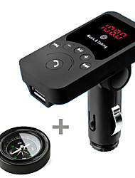 701E Mini Car Mp3 Wireless Bluetooth HandsFree Car Kit FM Transmitter with Remote with 3.1A USB Charger with Compass