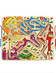 cheap -Maze & Sequential Puzzles Maze Magnetic Maze Toys Animals Party Flat Shape Wood Cartoon 1 Pieces Kids Christmas Children's Day Gift