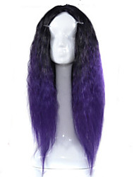 Europe and the United States Big Wave Lady Animation Headgear Black Gradient Purple    Corn Long Curly Hair Cosplay Wigs Head Cover 26inch