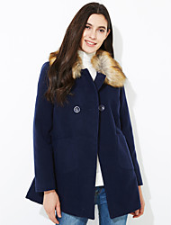 Women's Coat,Solid Long Sleeve Spring / Fall / Winter Blue / Pink / Yellow Wool / Others Medium