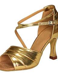 Da donna Balli latino-americani Similpelle Sandali Esibizione Con fermaglio di chiusura Incrociato Tacco cubano Oro7,5 - 9,5 cm 5 - 6,8