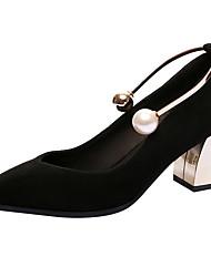 Damen High Heels Komfort Leuchtende Sohlen formale Schuhe Echtes Leder Frühling Sommer Hochzeit Party & Festivität PerleBlockabsatz Block