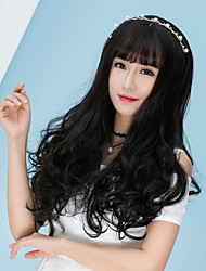 cheap -Cheap Women Synthetic Wigs Long Dark Chestnut Brown Grey Body Wave Middle Part With Bangs Natural Lolita Wig