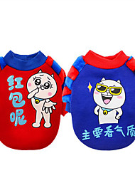 cheap -Dog Sweatshirt Dog Clothes Warm Casual/Daily Cartoon Red Blue Costume For Pets