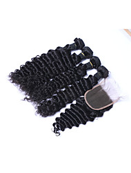 cheap -100% Unprocessed Short Size 4pcs 400g Natural Black Deep Wave Brazilian Remy Human Hair Wefts with 1Pcs 4x4 Lace Top Closures Human Hair Extensions