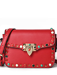 cheap -Women Bags PU Crossbody Bag Rivet Bead for Wedding Event/Party Casual Sports Formal Outdoor Office & Career All Seasons Green Black Red
