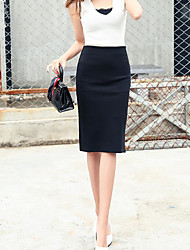 Women's Casual/Daily Knee-length Skirts Bodycon Solid Summer
