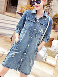 Women's Daily Modern/Comtemporary Fall Denim Jacket,Print Letter Shirt Collar 3/4 Length Sleeve Long Cotton Others