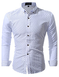 cheap -Men's Wedding Party Daily Holiday Going out Work Club Beach Cute Casual Chinoiserie All Seasons Shirt,Print Shirt Collar Long Sleeves