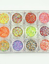 cheap -12PCS Hot Beauty Mixed Mini Round Thin Nail Art Nails Glitter 3d Nail Decorations Laser Shinning Tips 120g/PC
