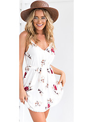 cheap -Women's Going out Sexy Loose Dress,Floral Strap Mini Sleeveless Chinlon Summer High Rise Inelastic Thin