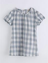 cheap -Girls' Print Lattice Tee,Cotton Summer Short Sleeve Blue