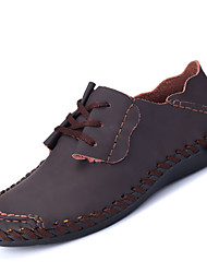 Men's Oxfords Comfort Gladiator Light Soles Spring Summer PU Casual Lace-up Flat Heel Black Orange Gray Brown Under 1in