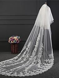 Wedding Veil Two-tier Chapel Veils Lace Applique Edge Tulle