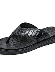 cheap -Men's Shoes PU Summer Comfort Slippers & Flip-Flops for Outdoor Black Silver Blue Dark Brown