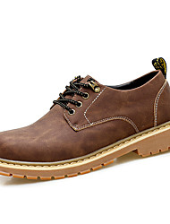cheap -Men's Oxfords Comfort Spring Fall Leather PU Casual Lace-up Flat Heel Black Coffee Light Brown Flat