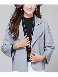 cheap -Women's Long Sleeves Cashmere Cardigan - Color Block, Print Shirt Collar