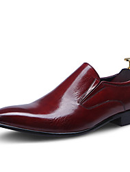 Men's Shoes Leather Cowhide Spring Fall Formal Shoes Wedding Shoes For Wedding Party & Evening Office & Career Black Burgundy