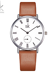 SK Women's Fashion Watch Chinese Quartz Shock Resistant PU Band Casual Minimalist Brown