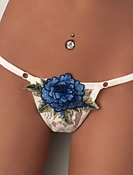 Women's Sexy Rose Embroidery G-strings & Thongs Panties Ultra Sexy Underwear Black/White