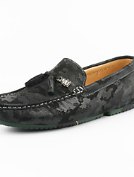 Unisex Loafers & Slip-Ons Moccasin Summer Fall Suede Casual Dress Party & Evening Office & Career Flat Heel Black Gray Khaki Flat