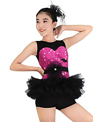 cheap -Kids' Dancewear Dresses Women's Performance Polyester Lace Organza Sequined Lycra Sequin Flower Ruffles Sleeveless Dropped