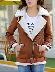 cheap -Women's Dailywear New Arrival Winter Fall/Autumn Leather Jacket,Solid Shirt Collar Long Sleeve Regular Polyester
