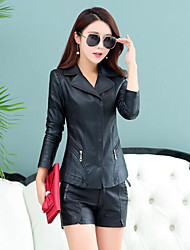 cheap -Women's Daily Simple Casual Fall Leather Jacket,Solid Peaked Lapel Long Sleeve Regular PU