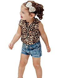 cheap -Girls' Animal print Fashion Clothing Set,Cotton Polyester Summer Short Pant Animal Print Yellow