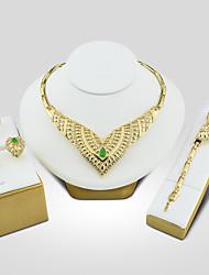Damen Braut-Schmuck-Sets Synthetischer Smaragd Vintage Luxus-Schmuck Elegant Synthetische Edelsteine Kubikzirkonia Aleación Herzform Für