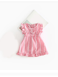 Baby Girl's Casual Dress Going out Holiday Solid Color Dress,Cotton Short Sleeves Blushing Pink