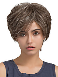 cheap -Fluffy Oblique Fringe Short Hair Ombre Color Human Hair Wigs