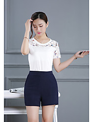 Women's Going out Simple Summer T-shirt Pant Suits,Print Round Neck Short Sleeve Micro-elastic