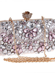 cheap -Women Bags Polyester Evening Bag Rhinestone Crystal for Wedding Event/Party Formal All Seasons Pink