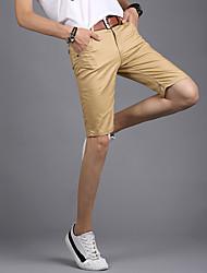 cheap -Men's Mid Waist Micro-elastic Straight Shorts Pants, Street chic Solid Polester/Cotton Blend Summer