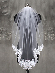 cheap -One-tier Lace Applique Edge Wedding Veil Fingertip Veils 53 Appliques Lace Tulle
