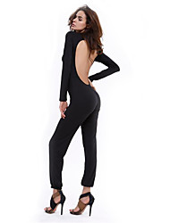 cheap -Women's Daily Vintage Casual Solid Crew Neck Jumpsuits,Slim Long Sleeve Spring Fall Cotton Linen Polyester