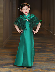 cheap -A-Line Ankle Length Flower Girl Dress - Satin Feathers Mikado Sleeveless High Neck with Beading by QZ