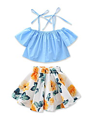 cheap -Girls' Floral Fashion Clothing Set, Cotton Summer Short Sleeves Floral Dresswear Blue